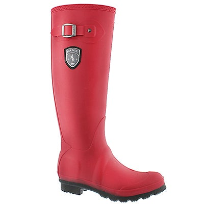 Lds Jennifer dkred side buckle rain boot