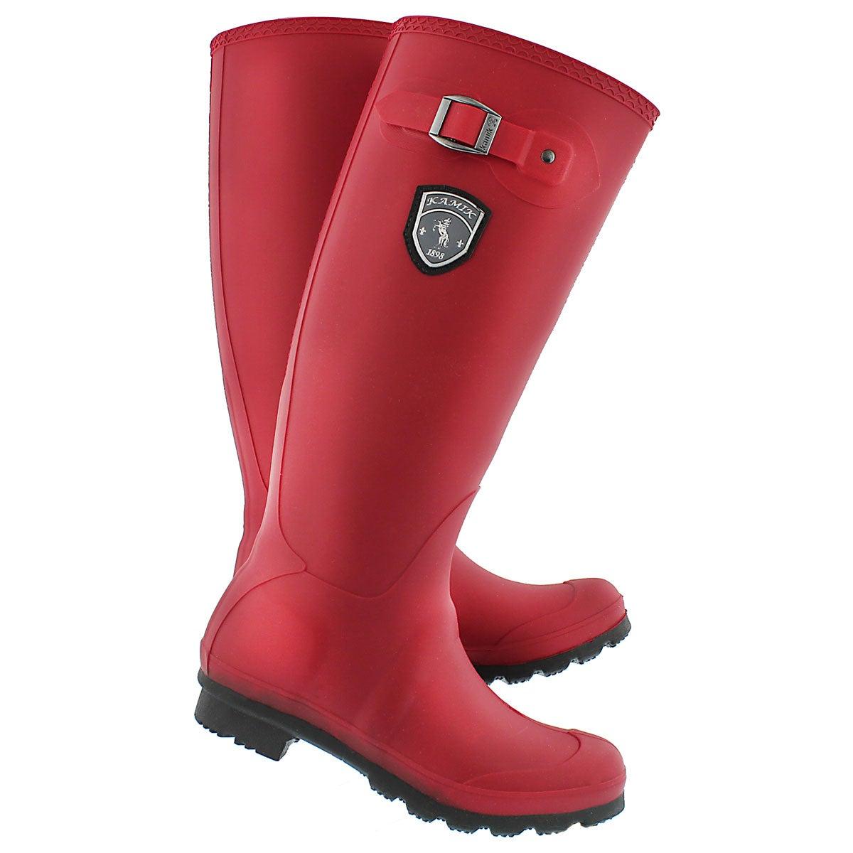 Lds Jennifer dkred side buckle rain boot