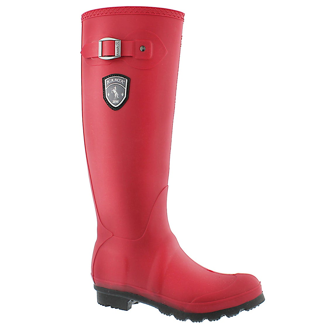 Women's JENNIFER dark red side buckle rain boots