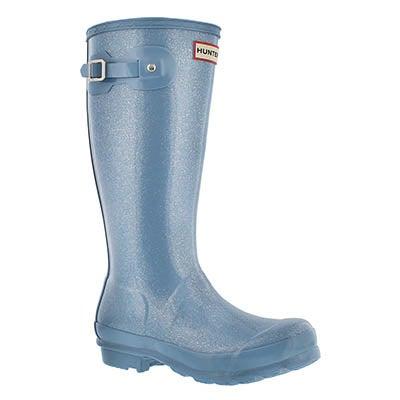 Hunter Girls' ORIGINAL GLITTER blue sky rain boots