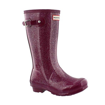 Hunter Girls' ORIGINAL GLITTER violet rain boots