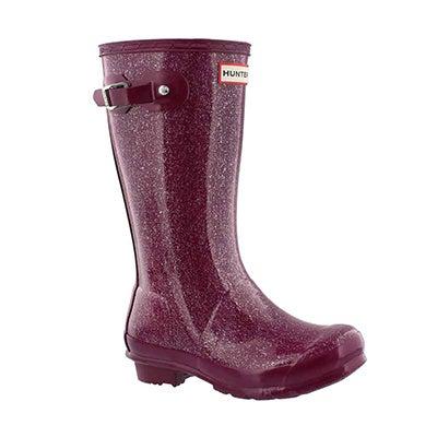 Hunter Girls' ORIGINAL GLITTER violet rain boots