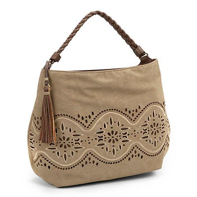 Big Buddha Women's JJAIDE grey laser cut hobo bag