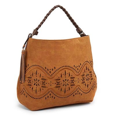 Big Buddha Women's JJAIDE tan laser cut hobo bag