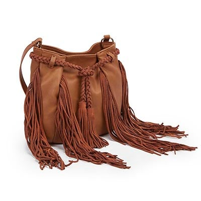 Steve Madden Women's JJULIEN cognac fringe cross body bag