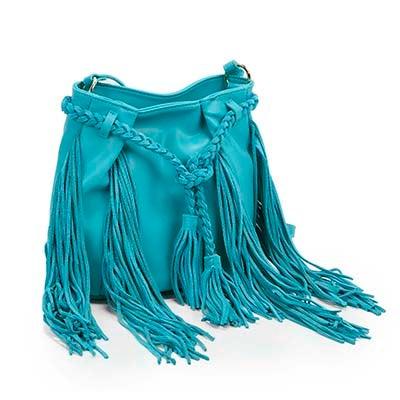 Steve Madden Women's JJULIEN turquoise fringe cross body bag