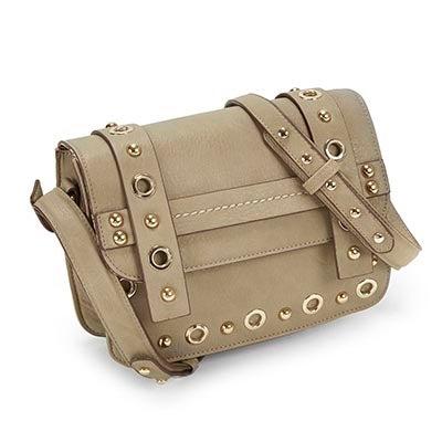 Lds JNella grey grommet cross body bag