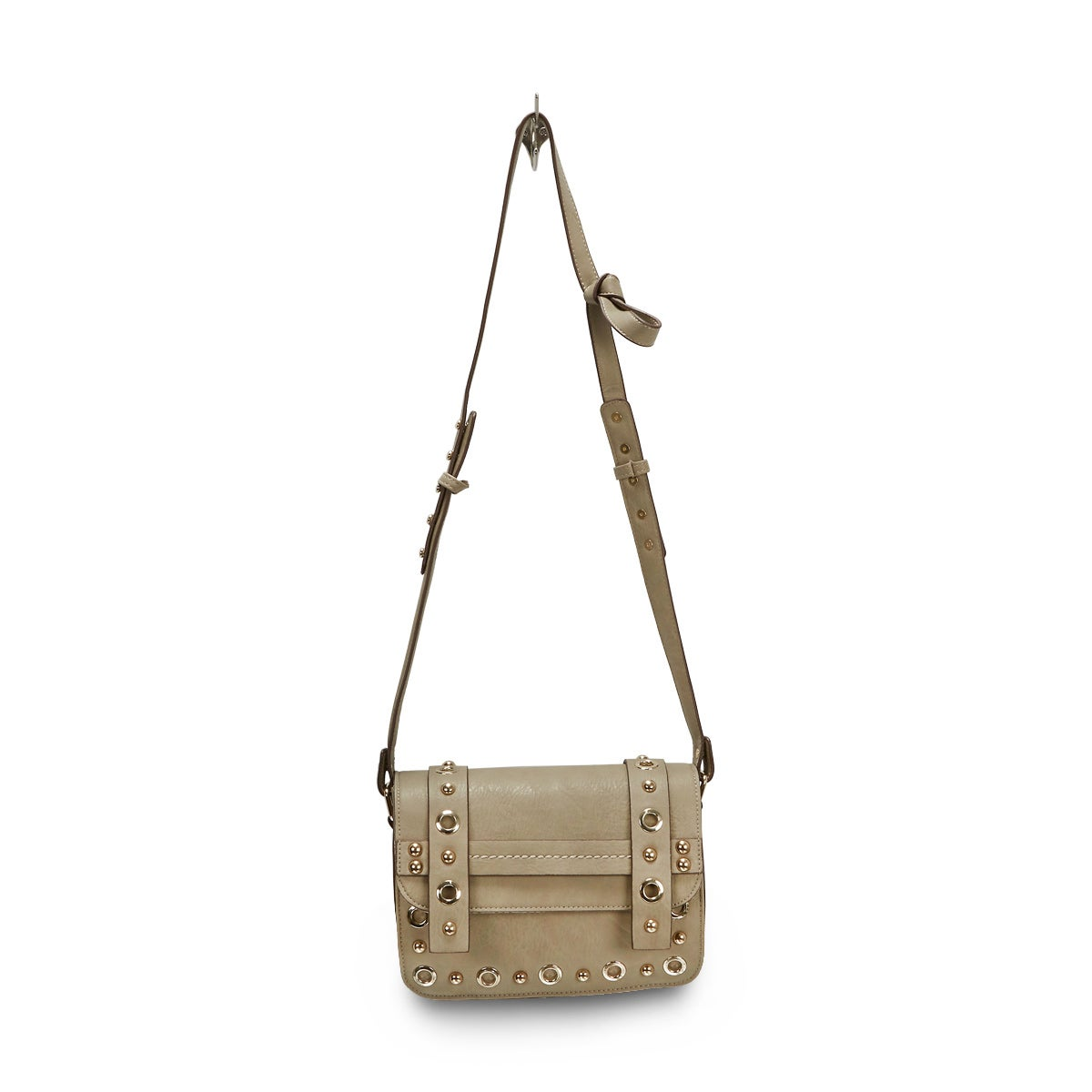 Lds JNella grey grommet cross body bag