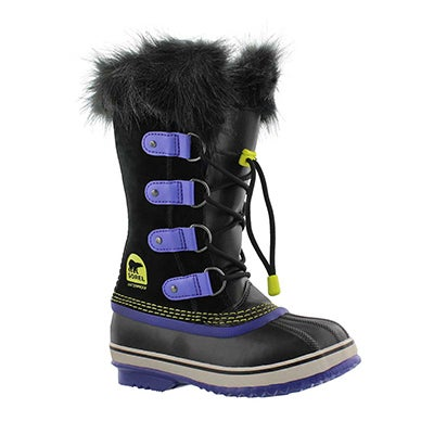 Sorel Girls' JOAN OF ARCTIC black/purple winter boots