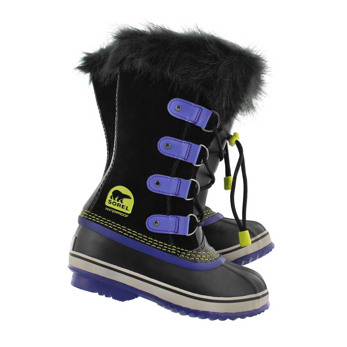 Grls Joan Of Arctic blk/purp winter boot