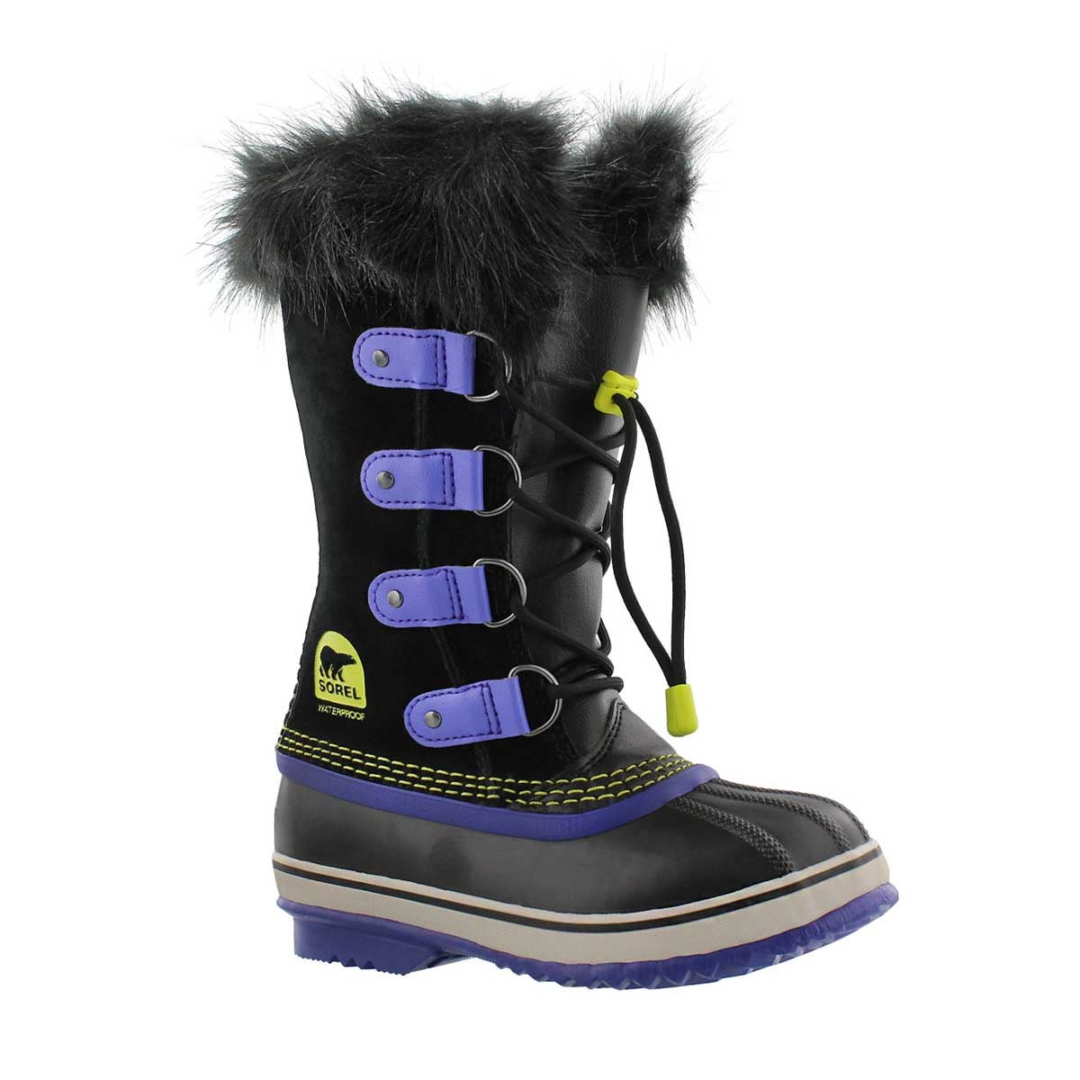 Grls Joan Of Arctic blk/purp winter boot