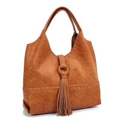 Steve Madden Women's JPORTO tan tassel hobo bag