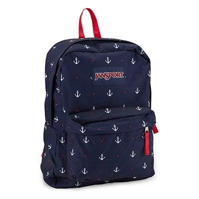 JanSport Unisex SUPERBREAK blue print backpack