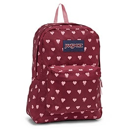 Jansport Superbreak red hearts backpack