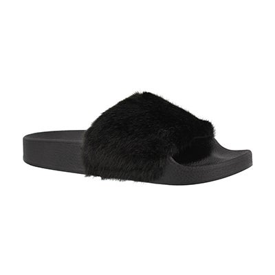 Grls Softey blk fur slide sandal