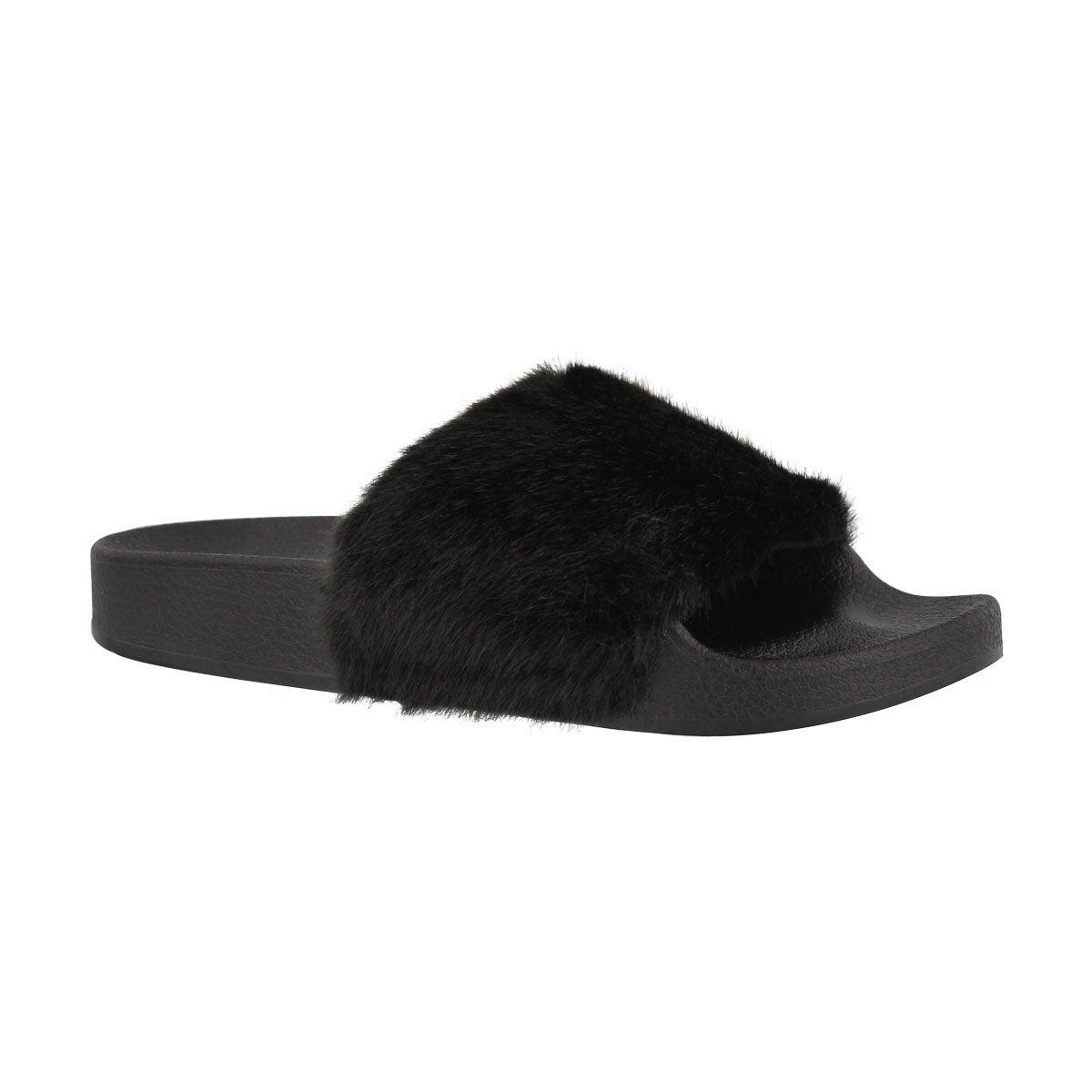 2613290abbf Girls' SOFTEY black fur slide sandals