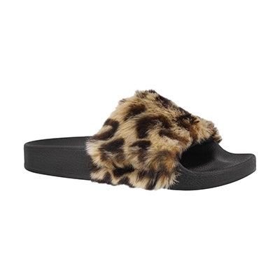 Grls Softey leo fur slide sandal