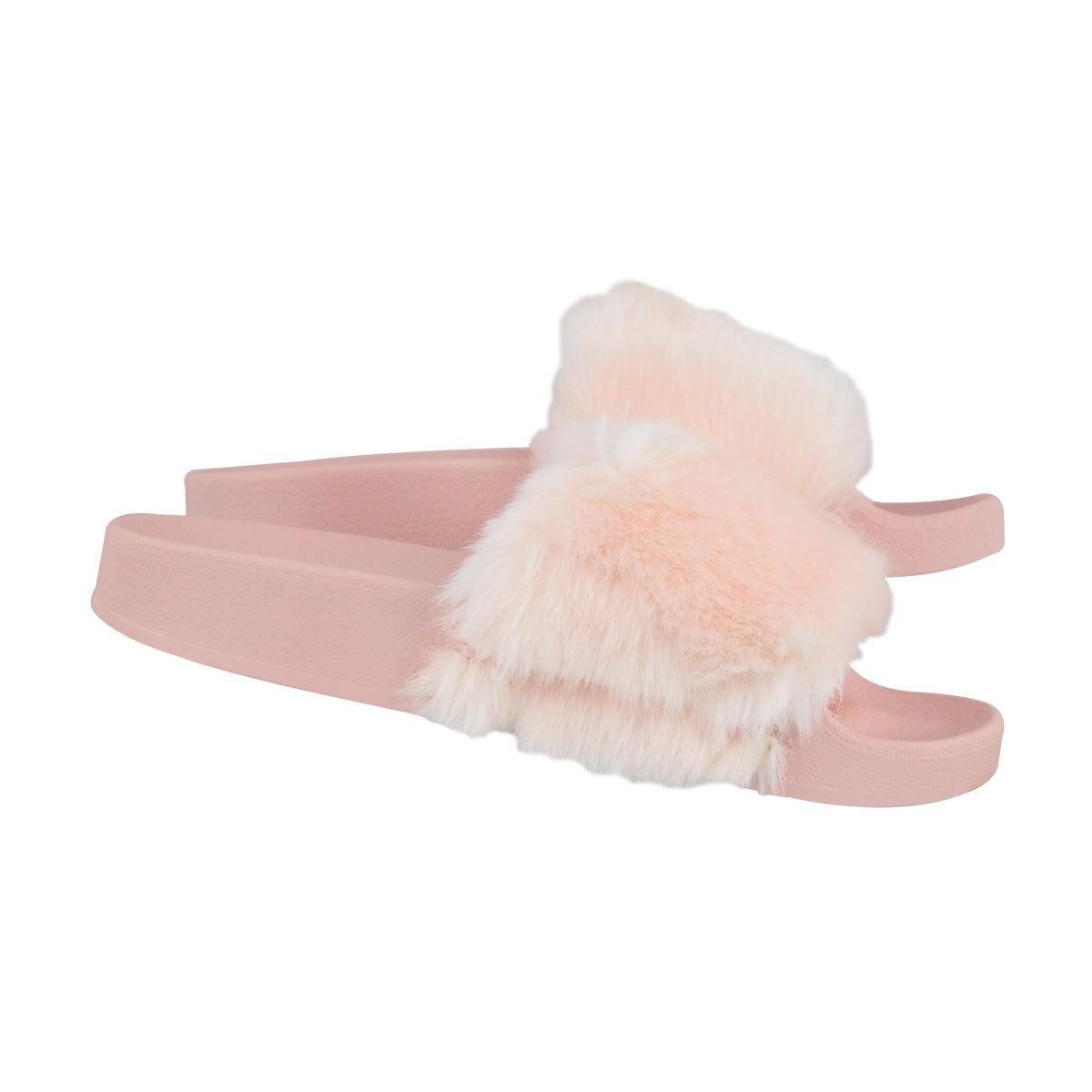 Grls Softey pnk fur slide sandal