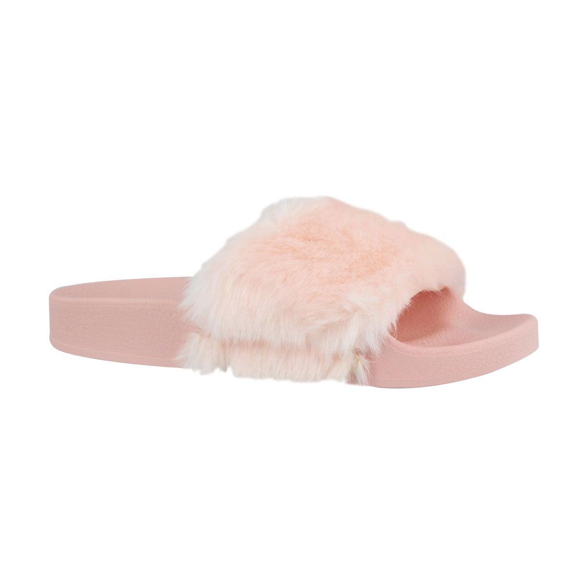 Girls' SOFTEY pink fur slide sandals