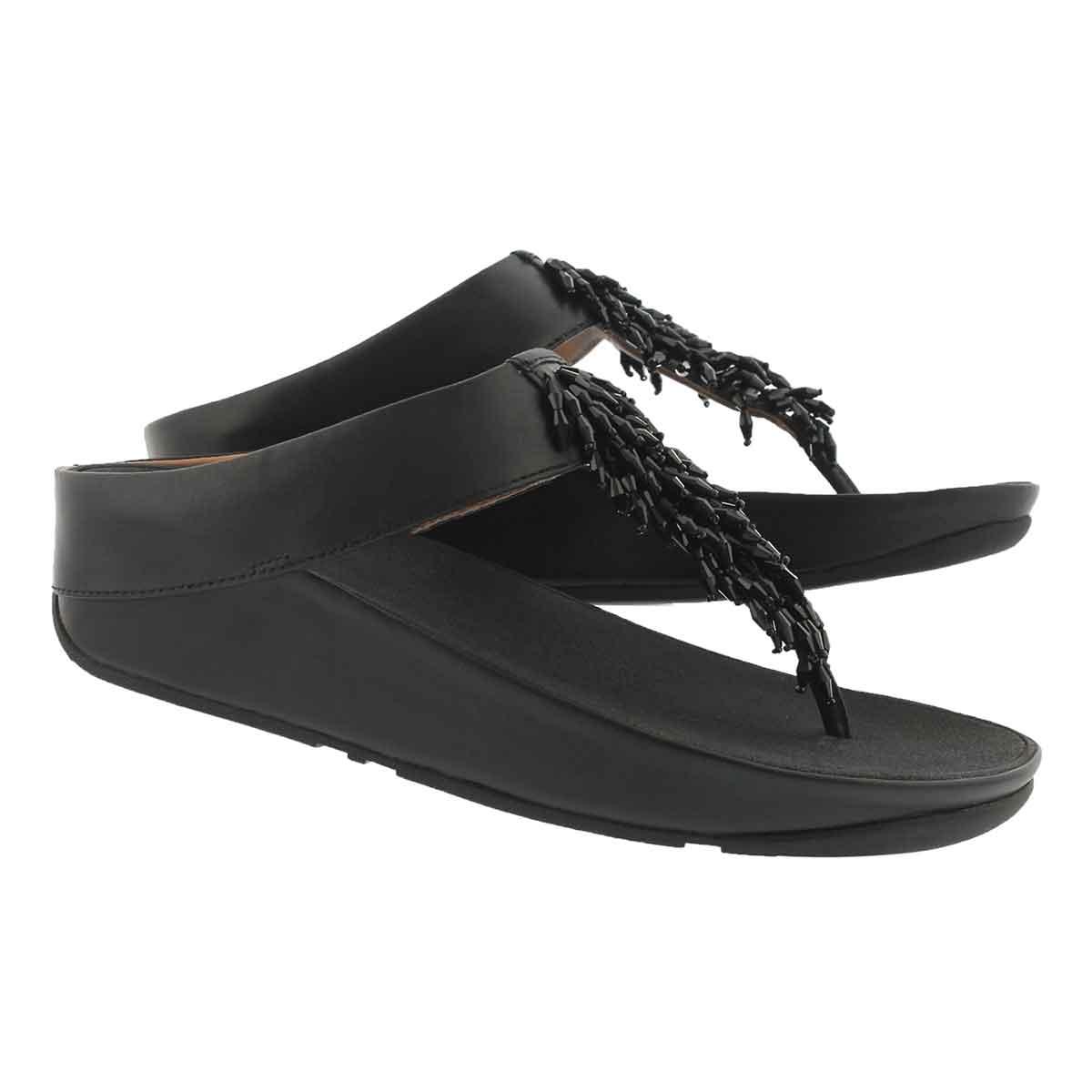 Lds Rumba black fringe thong sandal