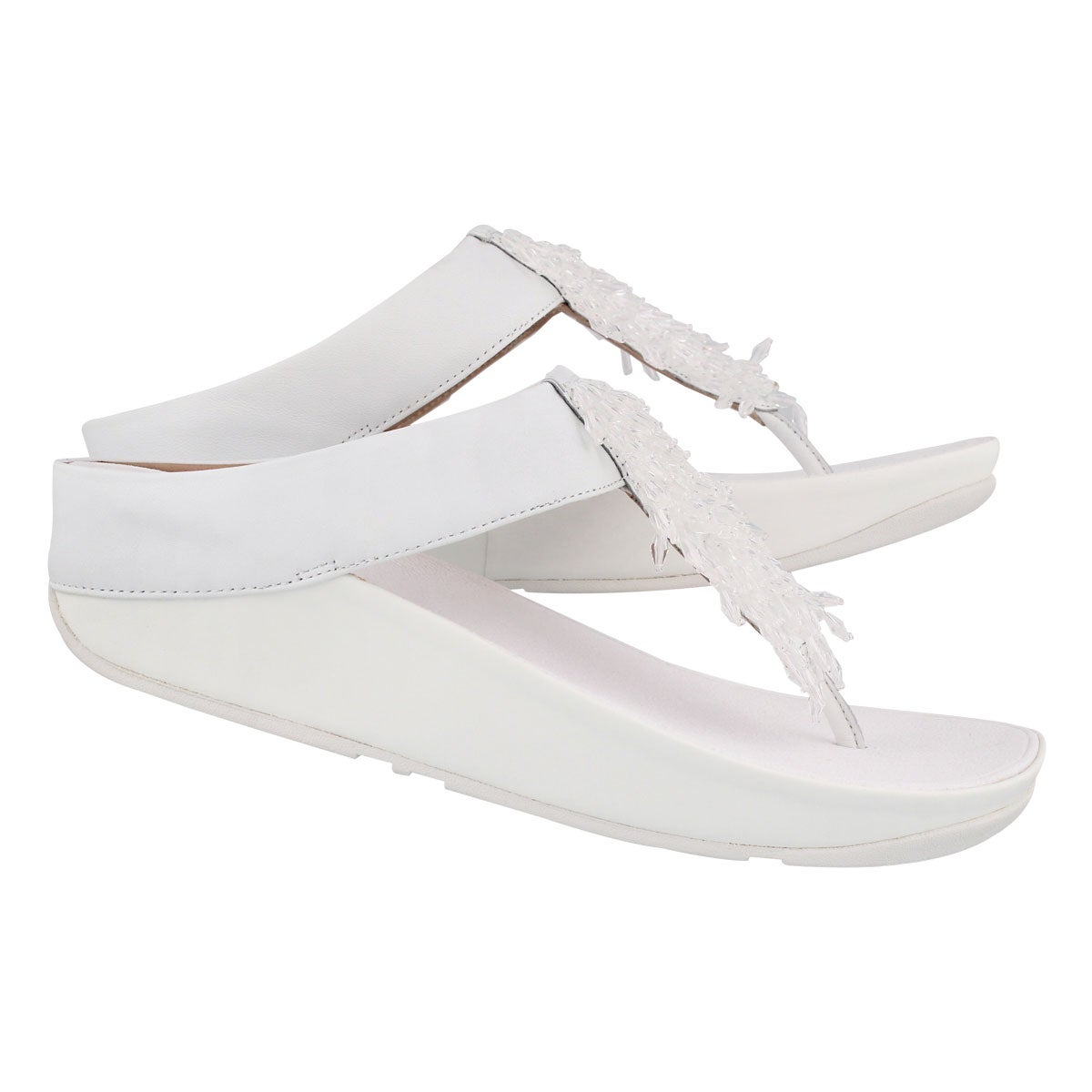Lds Rumba urban wht fringe thong sandal