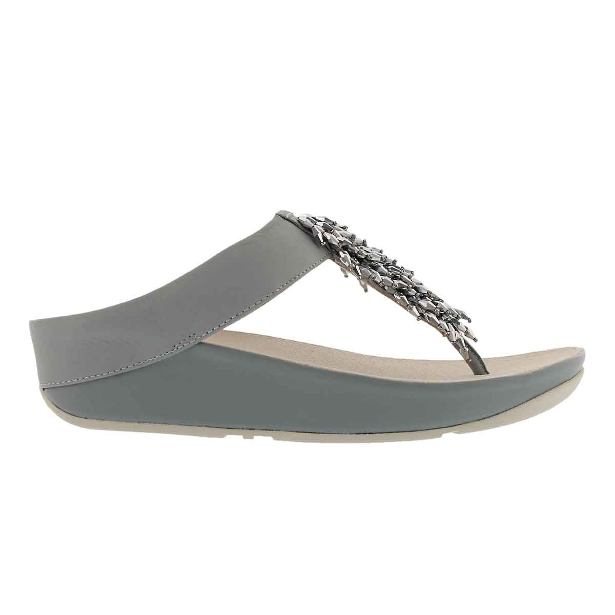 Lds Rumba dove blue fringe thong sandal