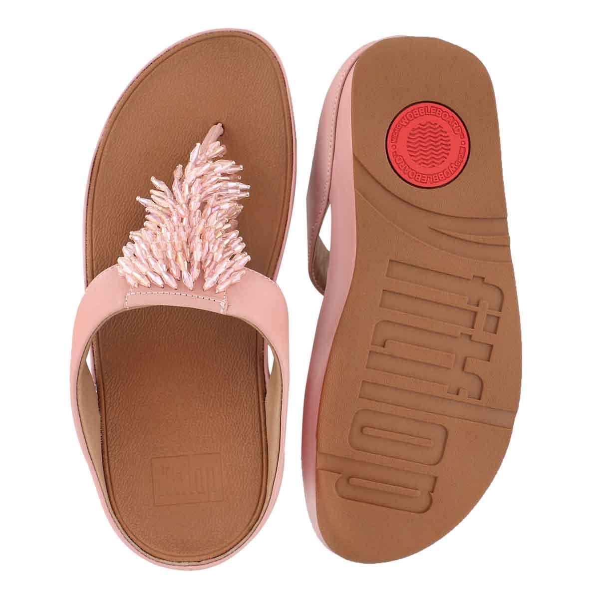 Lds Rumba dusky pnk fringe thong sandal