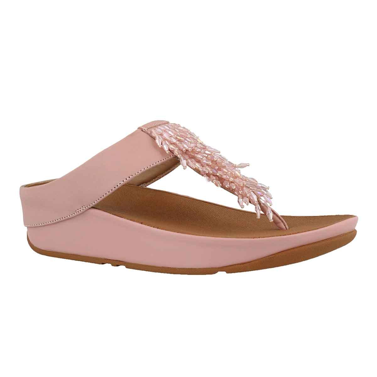 Women's RUMBA dusky pink fringe thong sandal