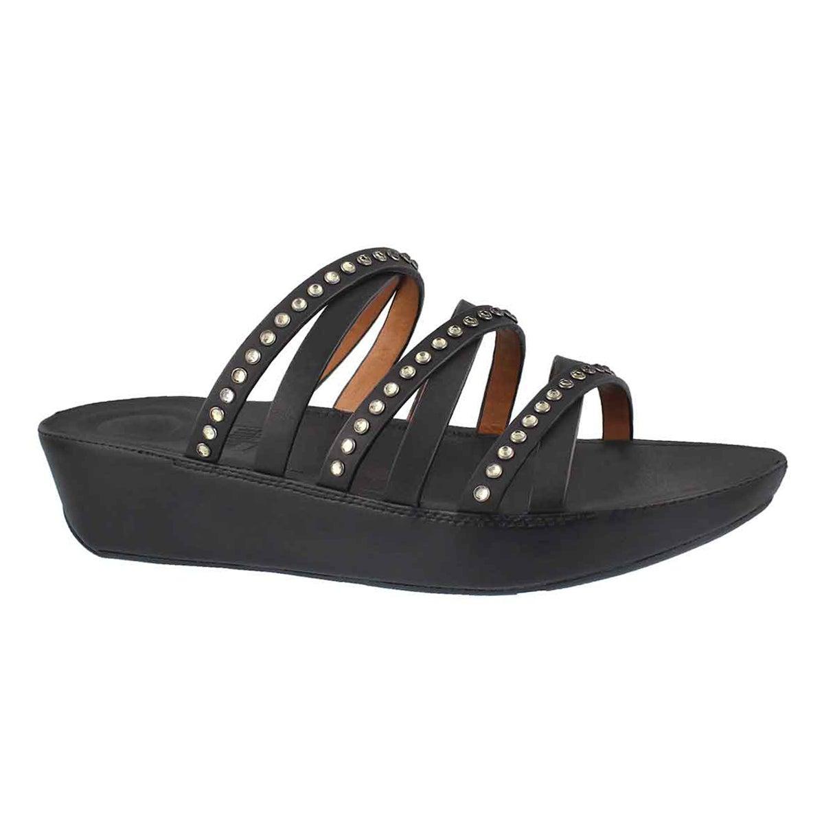 Lds Linny Crystal black slide sandal