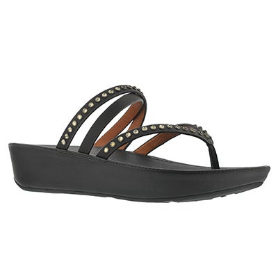 Lds Linny Crystal black thong sandal