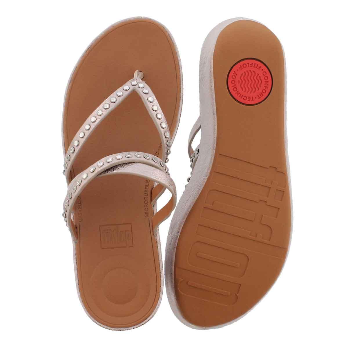 Lds Linny Crystal mtl brnz thong sandal