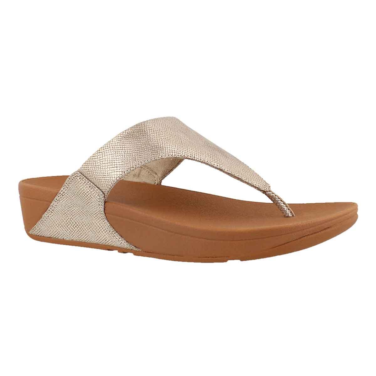 Women's LULU SHIMMER PRINT gold thong sandals