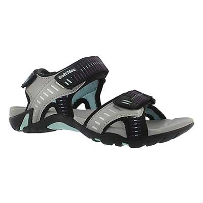 SoftMoc Women's KARA grey 3 strap sport sandals