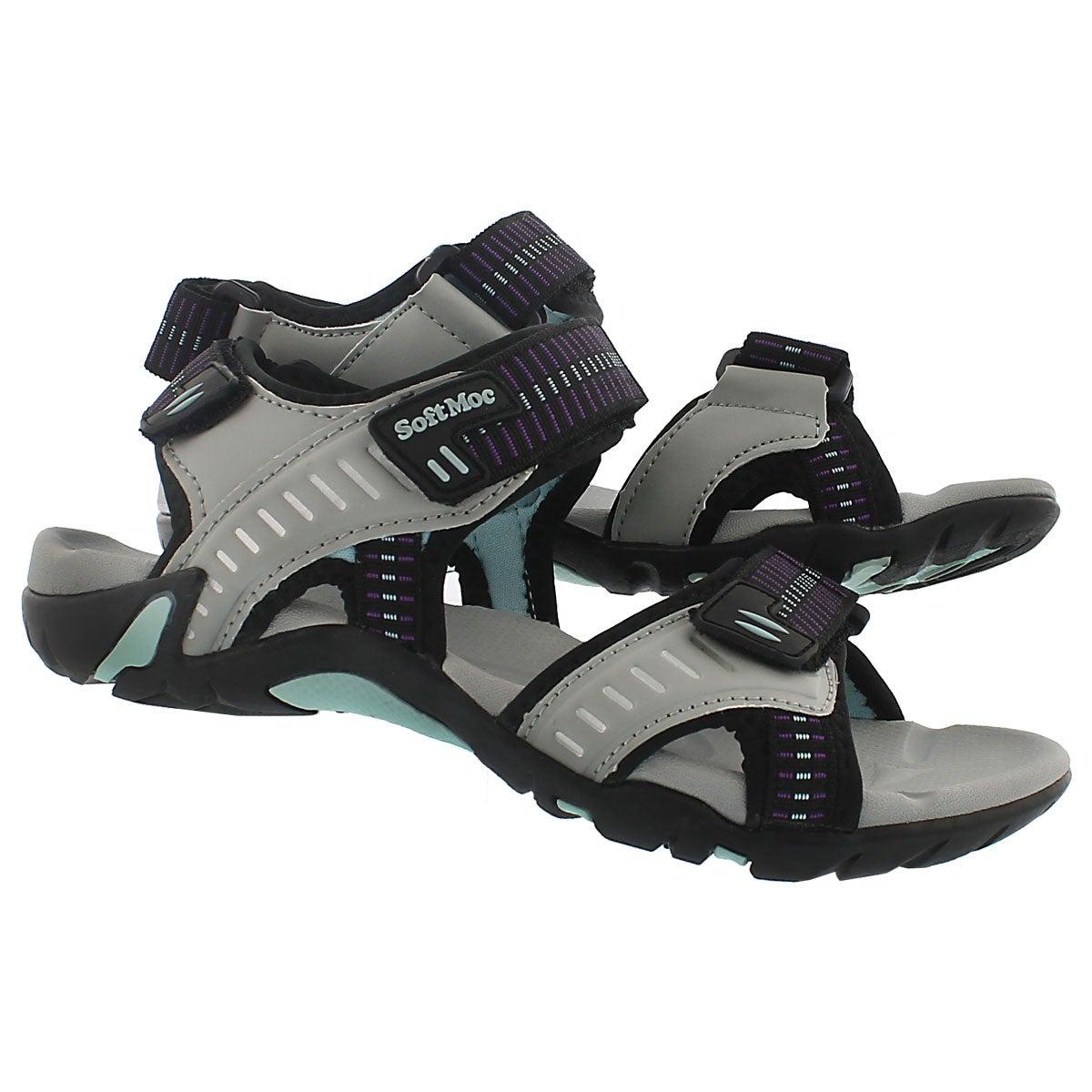 Lds Kara grey 3 strap sport sandal