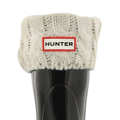 Hunter Kids' 6 STITCH CABLE cream boot socks