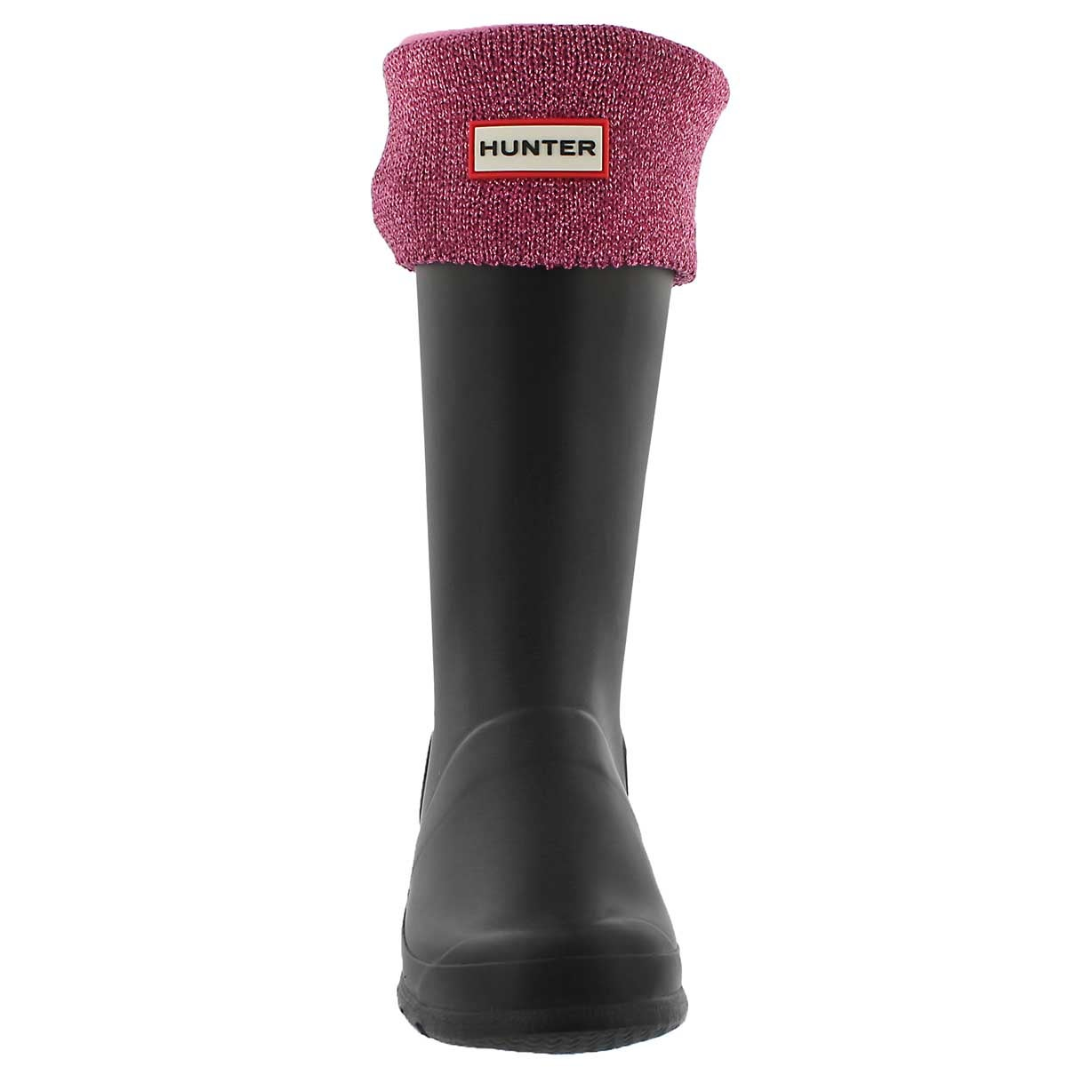 Kds Glitter Cuff panther pink boot sock