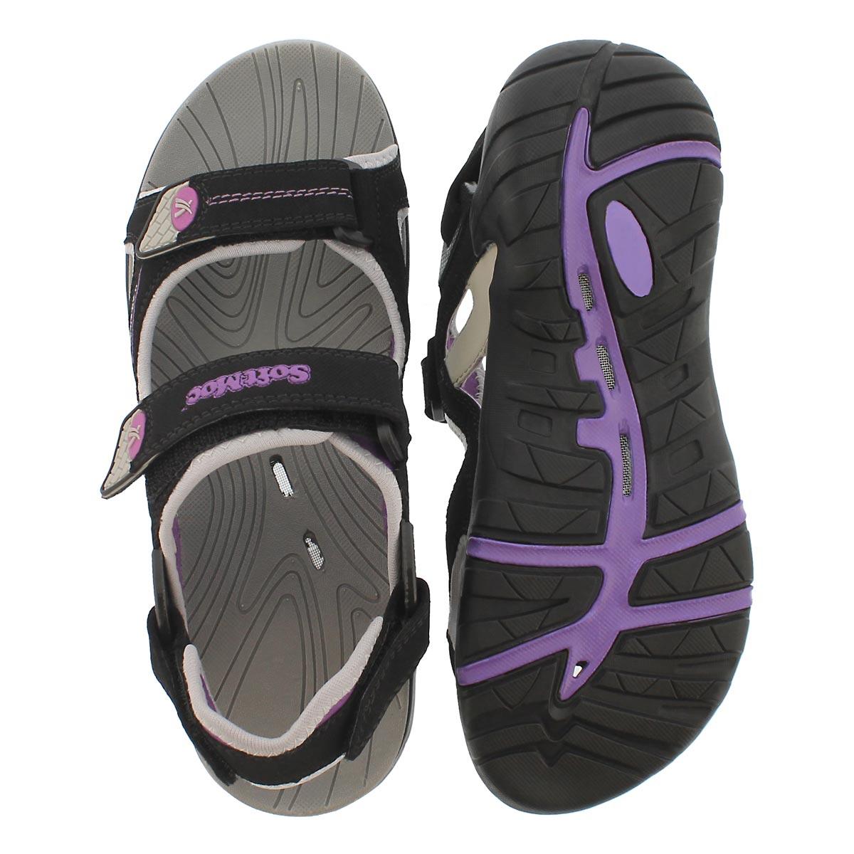 Lds Katelyn black 3 strap sport sandal