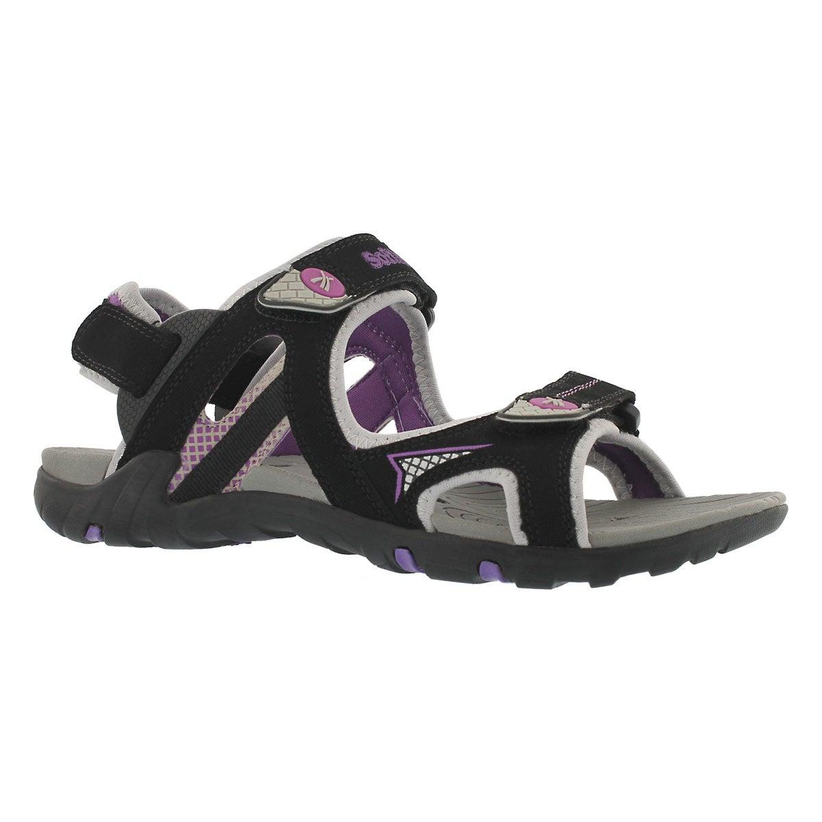 Women's KATELYN black 3 strap sport sandals