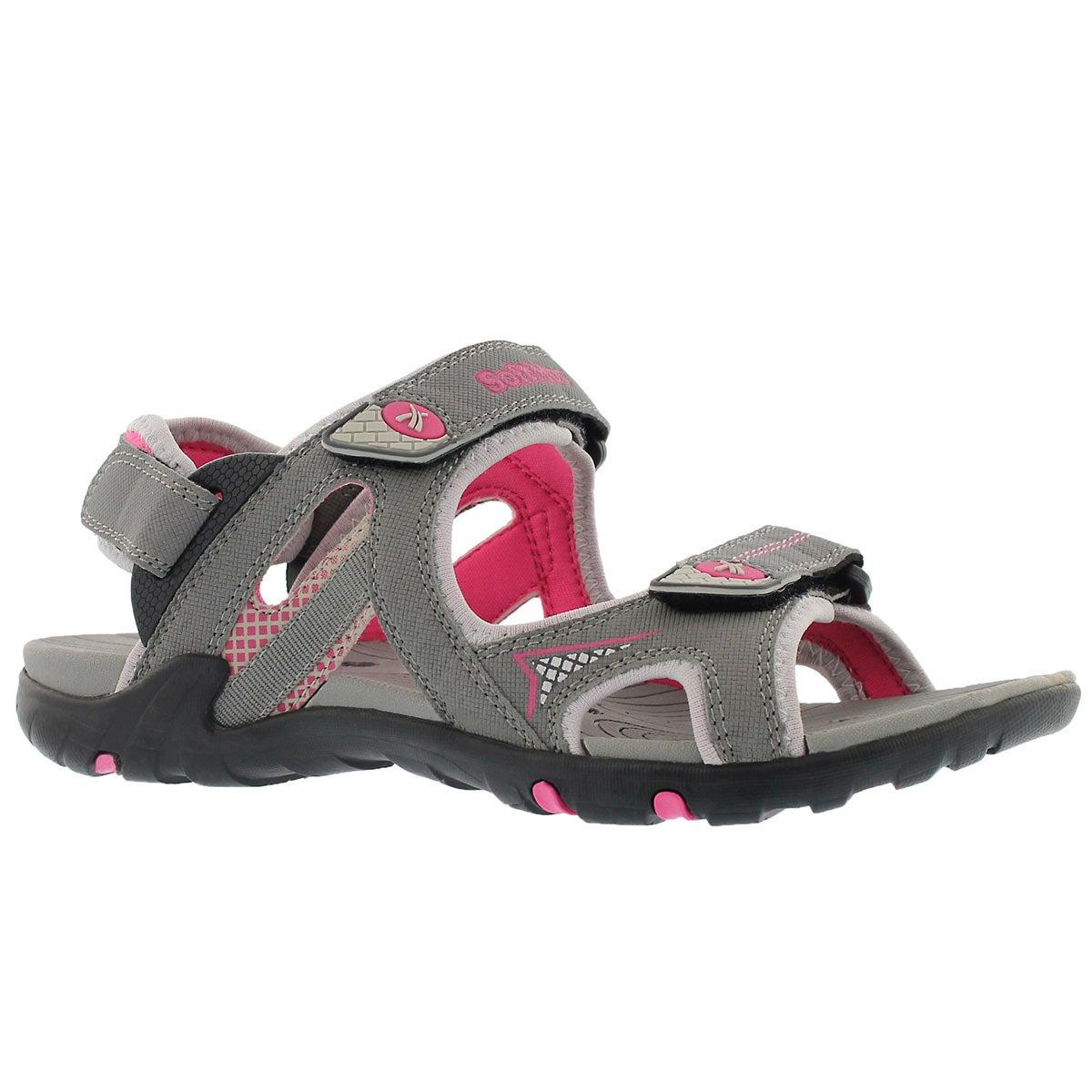 Lds Katelyn grey 3 strap sport sandal
