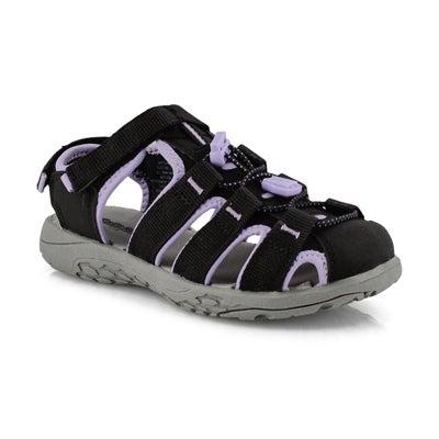 Grls Kayla blk/ purp fisherman sandal