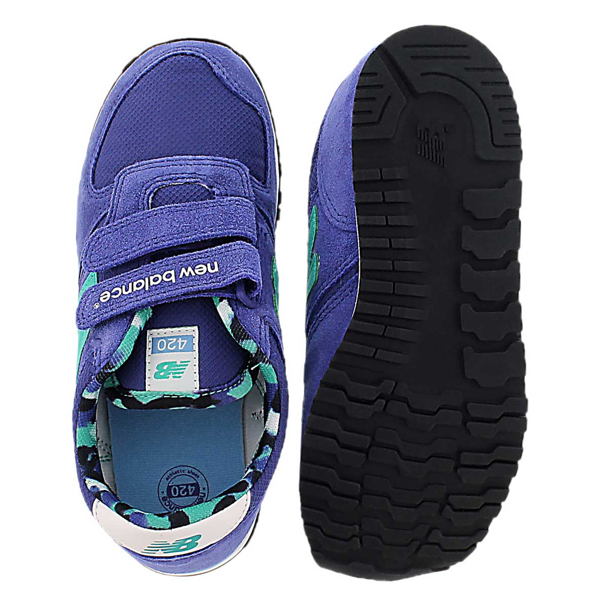 Grls 420 purple/teal hook & loop sneaker