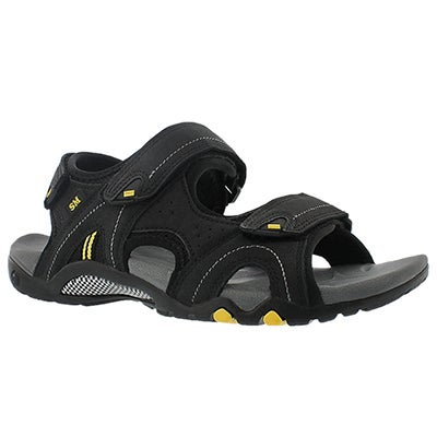 SoftMoc Men's KEEGAN black 3 strap sport sandals