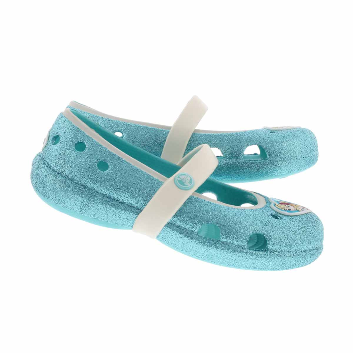 Grls Keeley Frozen blue sparkle flat