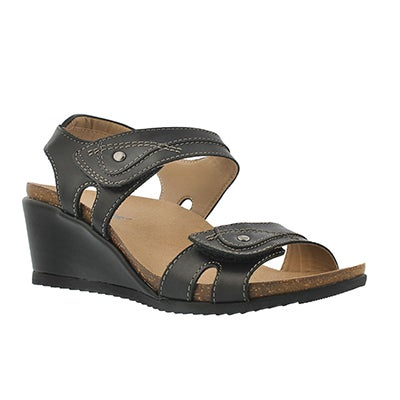SoftMoc Women's KEIRA black wedge sandals