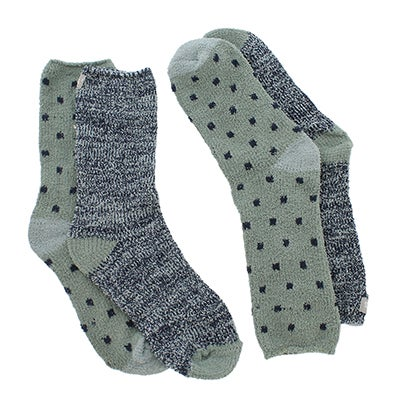 Keds Women's SMALL SQUARE green/multi sock - 2 pack