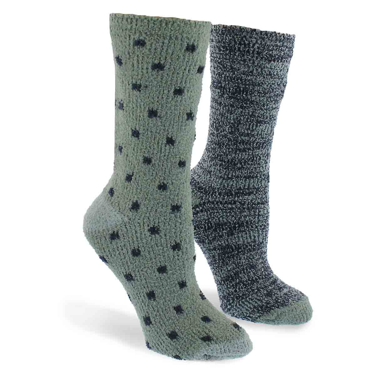 Lds Small Square grn mlti sock - 2 pk