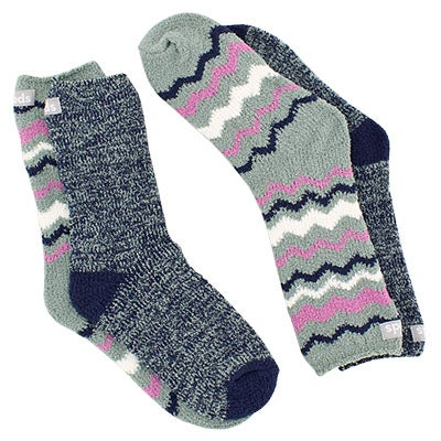 Keds Womens CHEVRON green multi socks - 2 pack