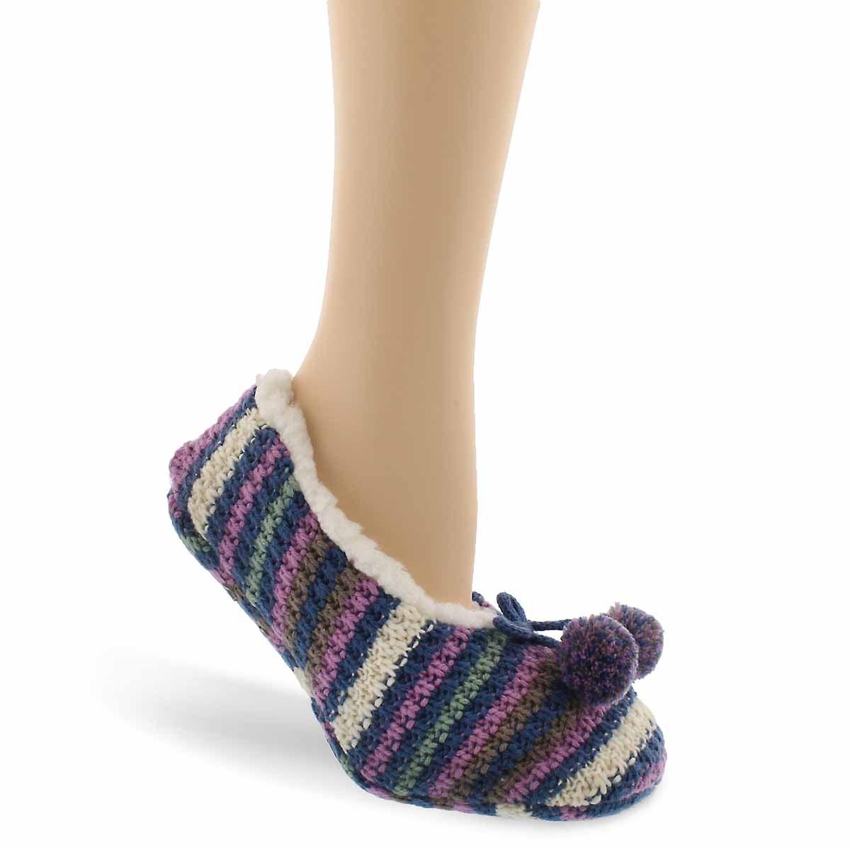 Lds MultiStripe multi sherpa sock - 1 pk
