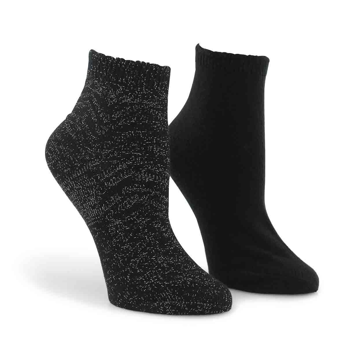 Lds Zig Zag blk mult ankle sock - 2 pk
