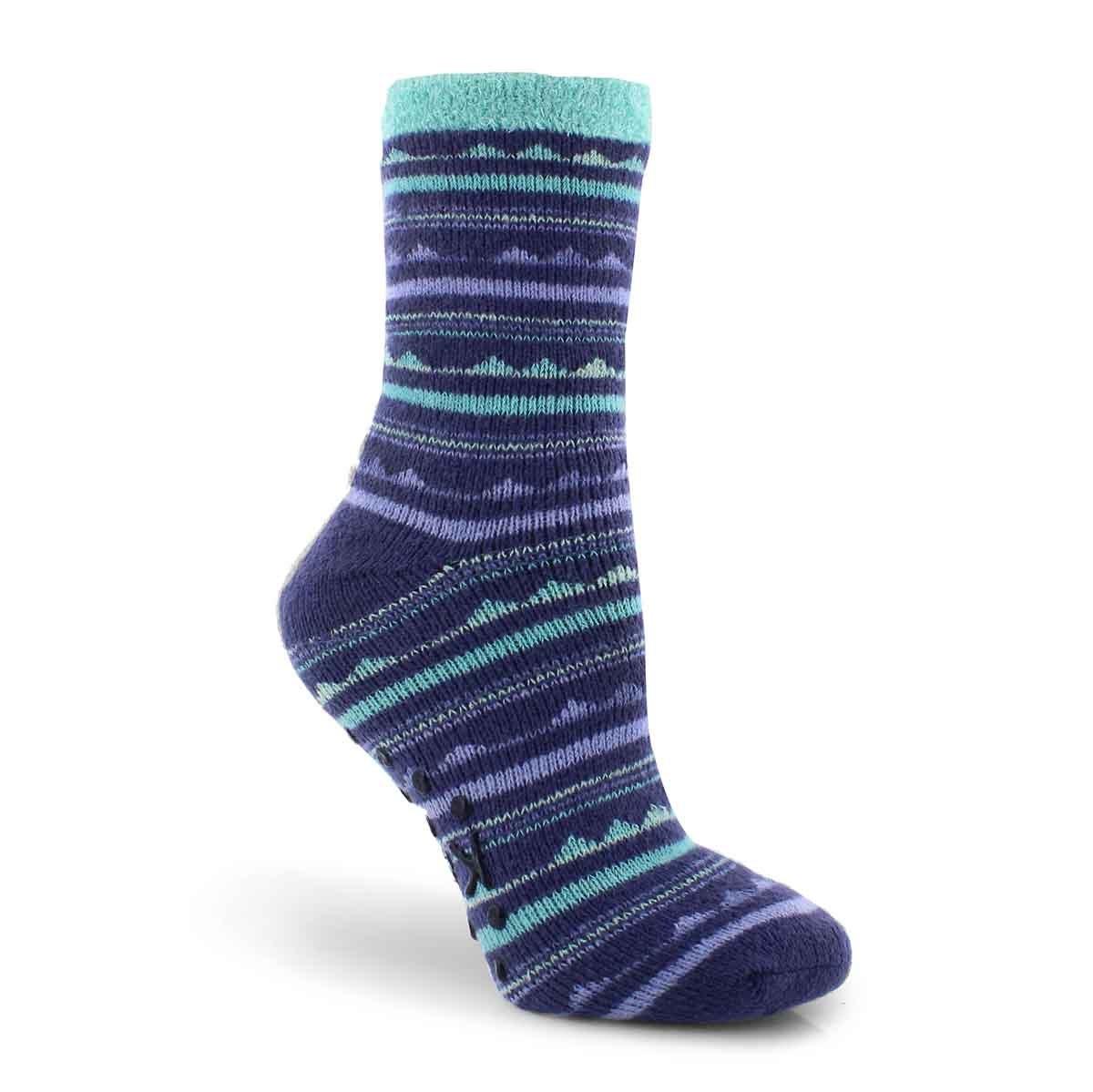 Lds Triangle Stripe blu crew sock - 1 pk